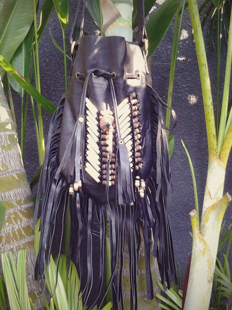 Medium Black Indian leather Handbag, Native American Style  bag. Crossbody bag