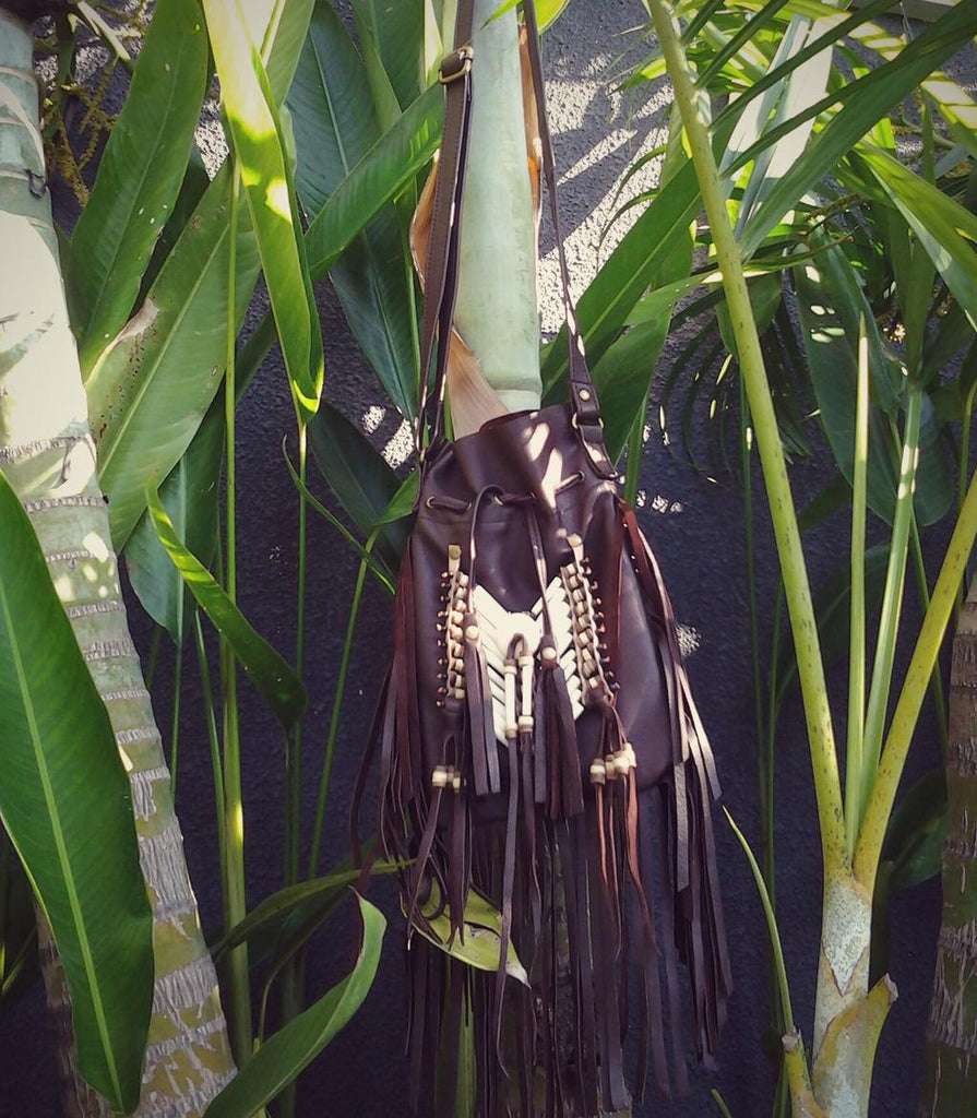 Dark Brown  Indian leather Handbag, Native American Style bag. Crossbody bag