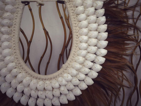 Papua Native Warrior necklace with brown feathers and shells