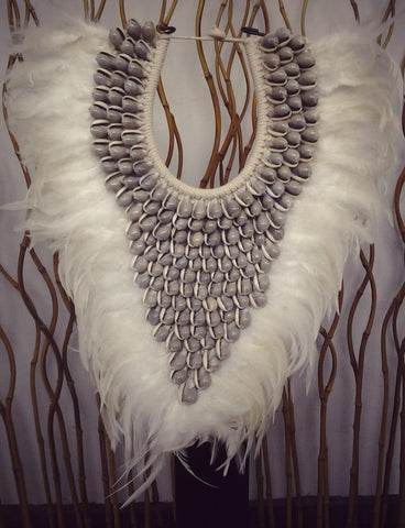 Papua Native Warrior necklace Full of natural grey shells