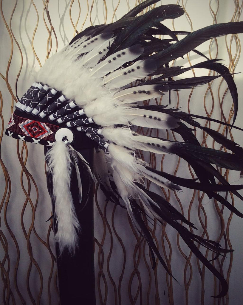 X12 Three colors black and white Indian Feather Headdress / warbonnet double feather (30 inch / 75 cm).