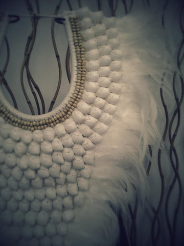 Full White Papua Native Warrior necklace with white shells