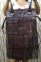 REDUCED PRICE!!!Texas Fringe Dark Brown Leather Bag / Boho Chic