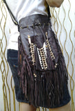 N46P- Dark Brown  Indian leather Handbag, Native American Style  bag. Crossbody bag