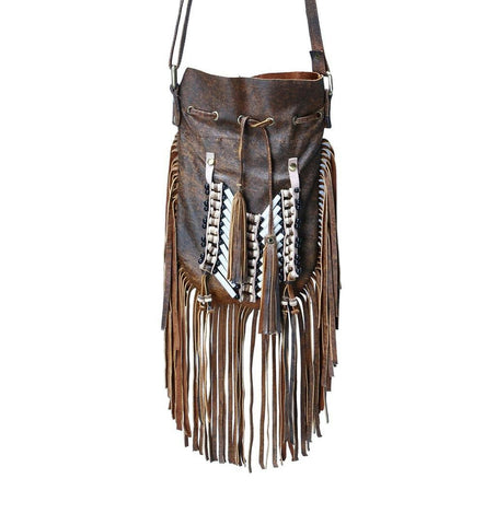 N48P- Antique Brown  Indian leather Handbag, Native American Style bag. Crossbody bag