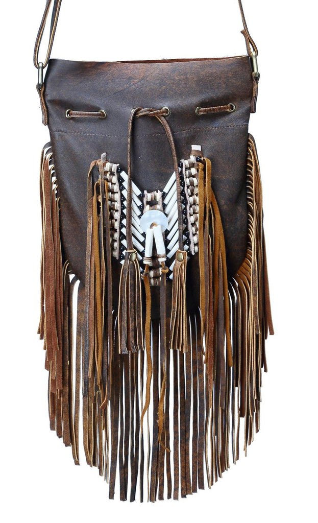 N48M- Medium Antique Brown Indian leather Handbag, Native American Style bag. Crossbody bag