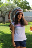 PRICE REDUCED . Z19 Extra Large Three color Brown Feather Headdress (43 inch long )