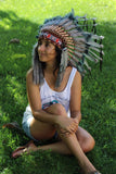 PRICE REDUCED N62- Grey Indian Headdress, native american Style warbonnet