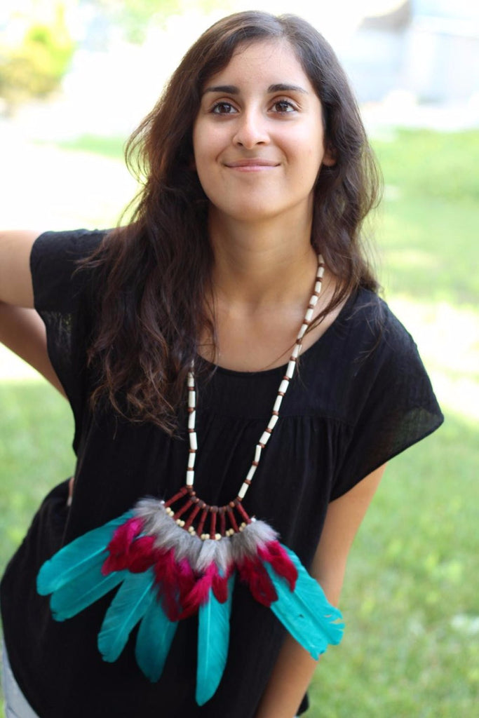 Indian Green and fuchsia Feather Necklace