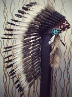 PRICE REDUCED N72 - Medium Indian White and Black Feather Headdress