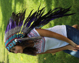 PRICE REDUCED Y24 Purple Feather Headdress (36 inch long )/war bonnet.