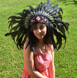 X52 Reduced Price !!! Black natural colour Feather Headdress / Warbonnet.