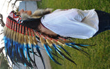 PRICE REDUCED M31-Indian Native American Style , War bonnet , Medium Electric Blue Feather Headdress (36 inch long ).