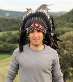 PRICE REDUCED Z16 Extra Large Brown colors Feather Headdress (43 inch long )