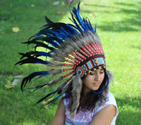 N54- Electric Blue  and dark Feather Short Headdress / Warbonnet