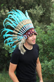 PRICE REDUCED N51- Light Blue / Turquoise Feather Headdress / Warbonnet,