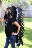 PRICE REDUCED N103- Extra Large blue doble Feather Headdress (43 inch long )