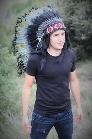 PRICE REDUCED N74- Medium Grey Headdress, native american Style warbonnet
