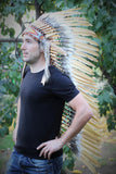 PRICE REDUCED Z25 Extra Large Brown  Feather Headdress  (43 inch long ).
