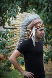 PRICE REDUCED Y30 Medium Olive- Brown Headdress, native american Style warbonnet