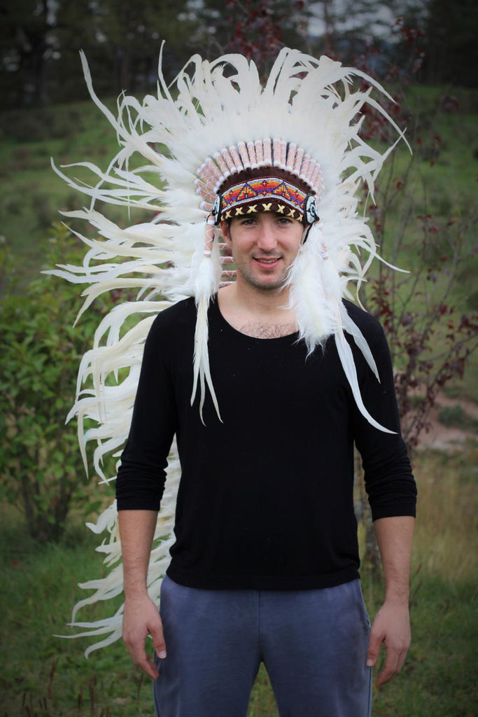 PRICE REDUCED N93- Extra Large White  Feather Headdress (43  inch long )/ war bonnet.