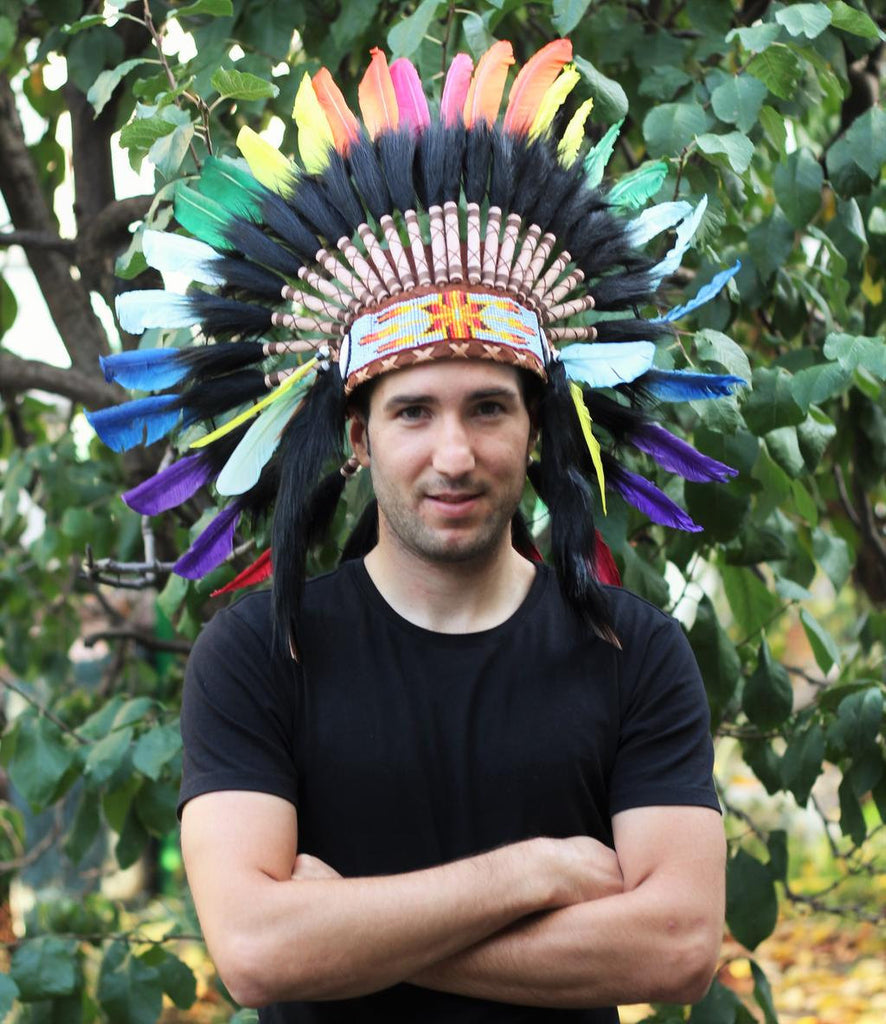 PRICE REDUCED X47 Rasta Spirit Colorful Feather Headdress.
