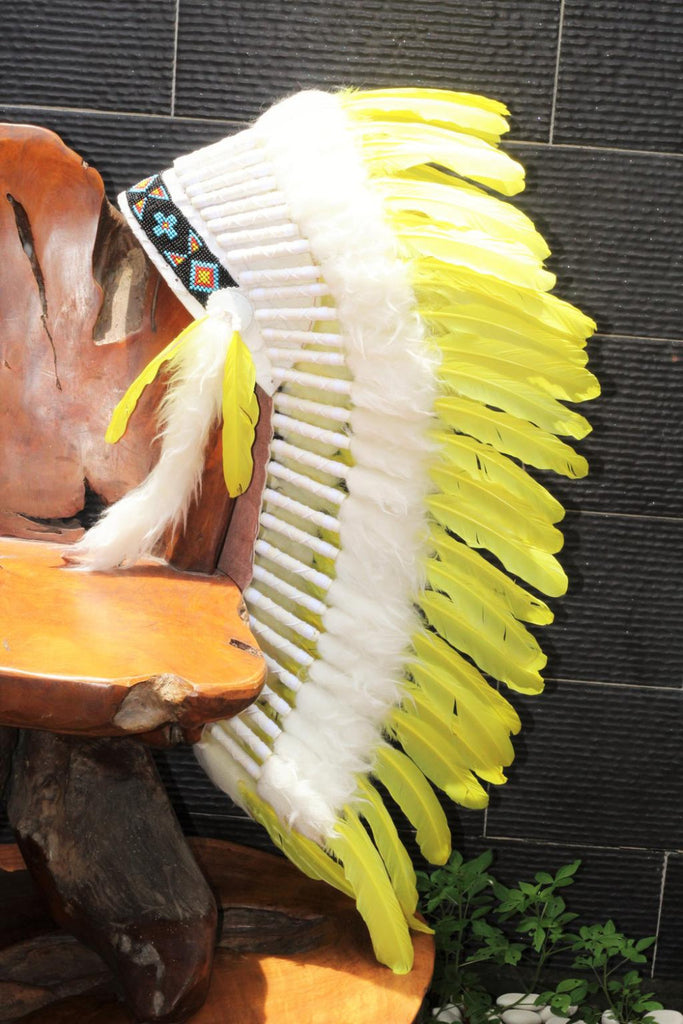 PRICE REDUCED Y32 Medium  Yellow  Feather Headdress / Native American Style Warbonnet (36  inch long ).