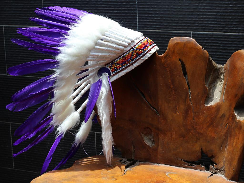 X49 FLUOR COLLECTION: Purple  Warbonnet .Native American Style Feather Headdress
