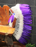 Y50 FLUOR  COLLECTION : Medium  Purple Feather Headdress / Native American Style Warbonnet (36  inch long ).
