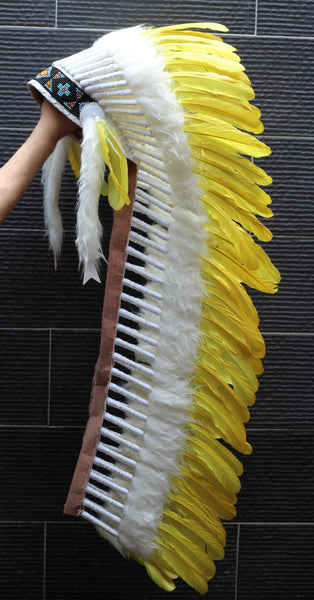PRICE REDUCED Z28 : Extra Large Yellow Feather Headdress (43 inch long )