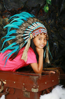 N32- From 5-8 years Kid / Child's: turquoise feather Headdress 21 inch. – 53,34 cm.