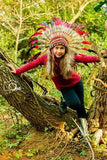 N35- From 5-8 years Kid / Child's:  Red and black rooster feather Headdress 21 inch. – 53,34 cm.