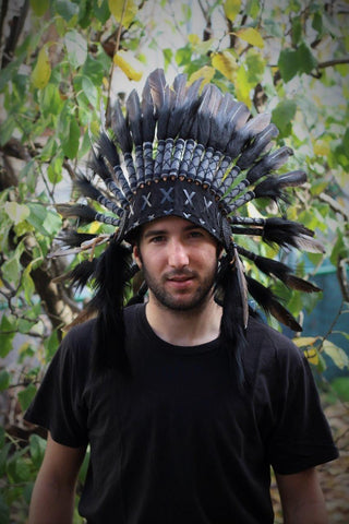 PRICE REDUCED N64- Black Feather Headdress. Native American Inspired