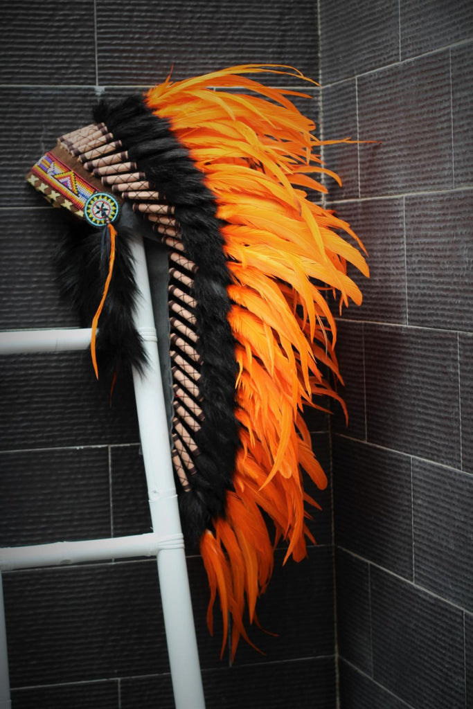 Y10 Medium  Orange  Feather Headdress (36  inch long )/ war bonnet.