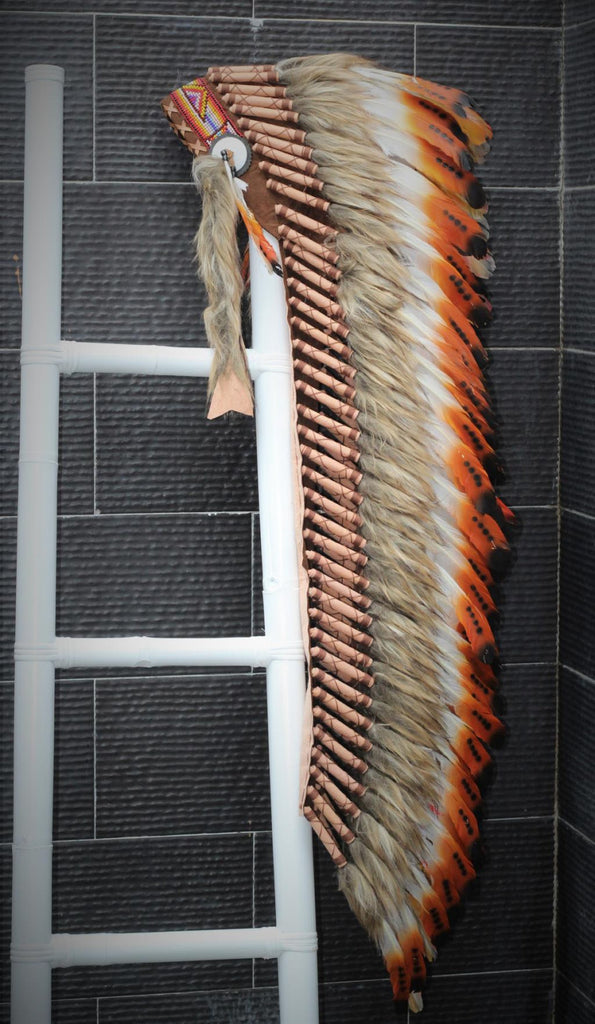 PRICE REDUCED Z13 Extra Large Three color Brown Feather Headdress (43 inch long ).