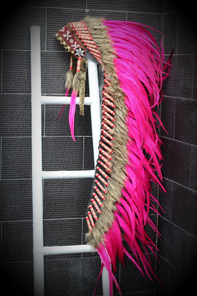PRICE REDUCED . Z09 Extra Large Pink Feather Headdress (43 inch long )