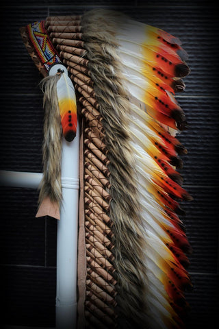 Z24 Extra Large  Three colors Feather Headdress (43 inch long )