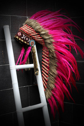 Y04 Indian Native American Style ,  Medium Pink Feather Headdress (36 inch long ).