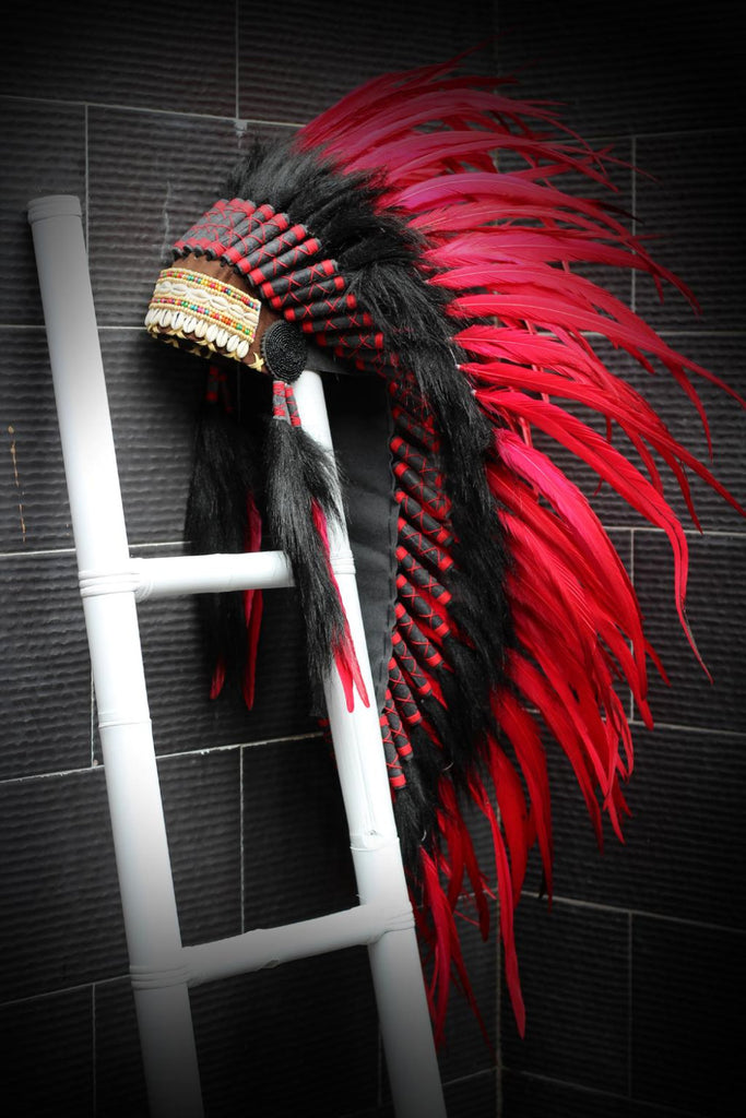 Y09 Medium Red Indian Feather Headdress / Native American Style Warbonnet (36 inch long )