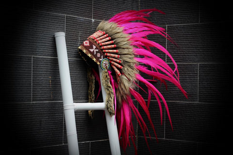 X23 Full  pink  Feather Headdress,Native American Indian Style