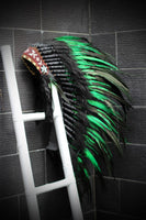 Y55 - Medium  Green  Feather Headdress (36  inch long )/ war bonnet