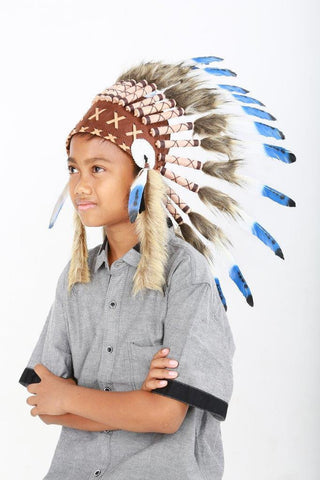 N34- From 5-8 years Kid / Child's: blue feather Headdress 21 inch. – 53,34 cm.