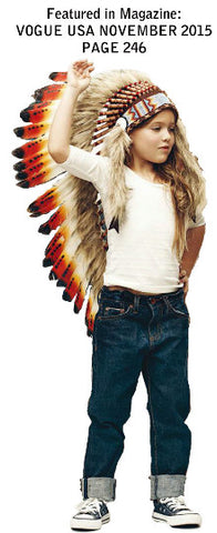 N13- From 5-8 years Kid / Child's: Long three colors red swan feather Headdress 21 inch. – 53,34 cm.