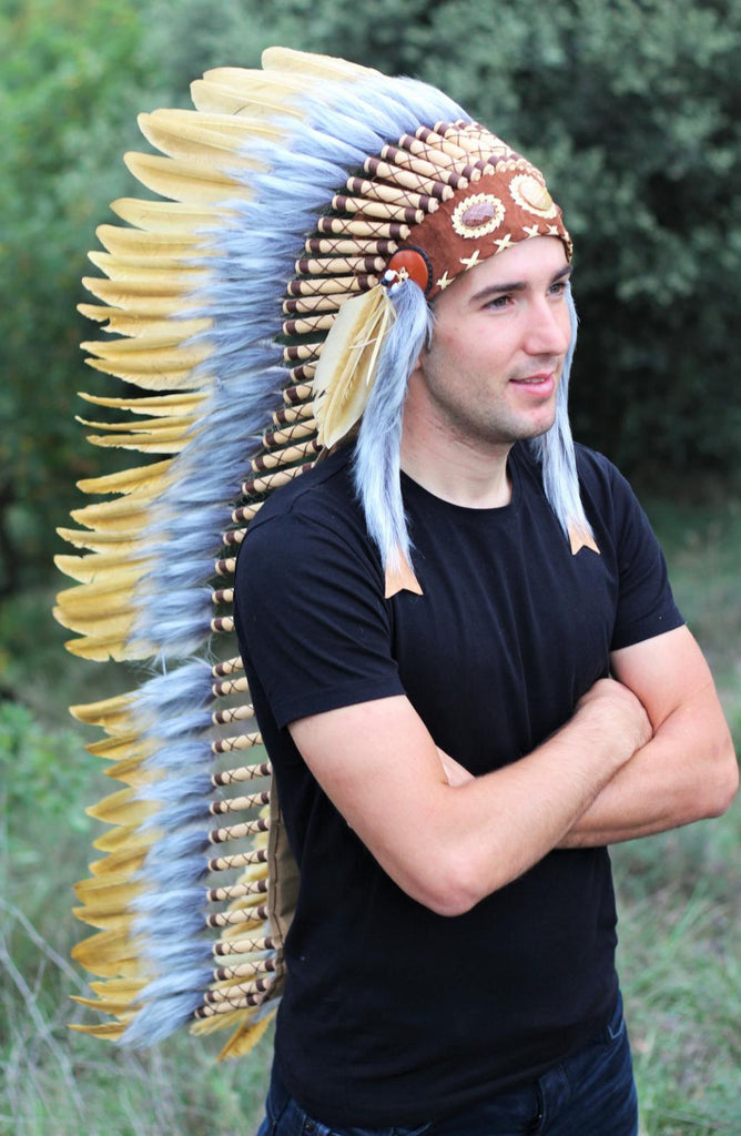PRICE REDUCED Z03 Extra Large Light Brown Feather Headdress (43 inch long )