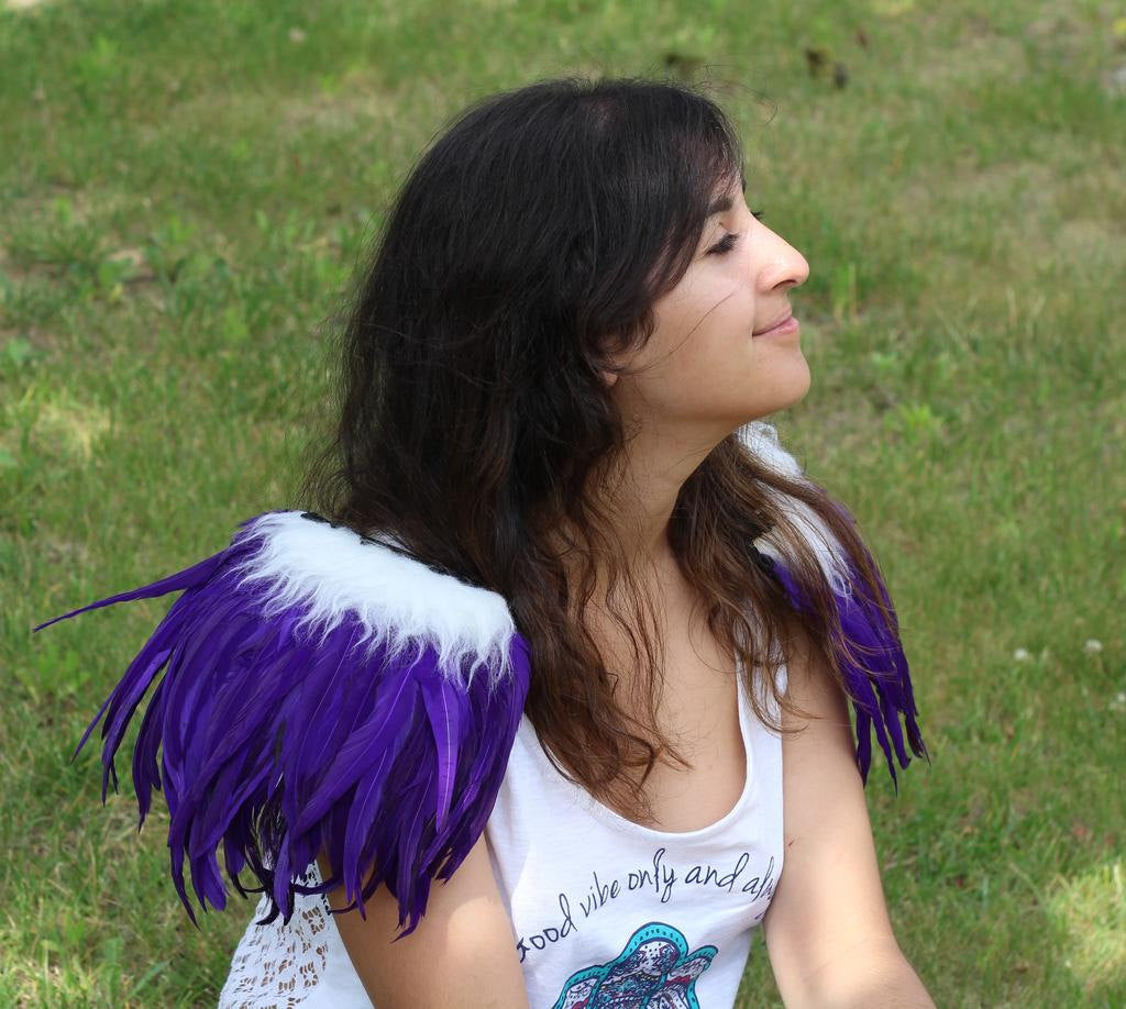 Shoulder Wings feathers: white and purple