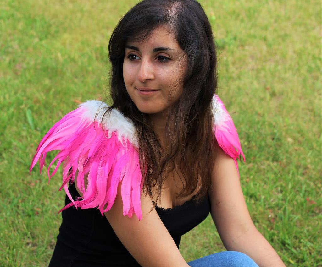 Shoulder Wings feathers: pink  and white