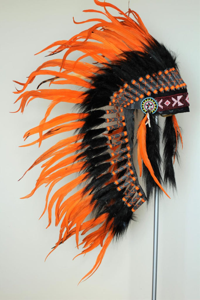 PRICE REDUCED Y19 Native Medium Orange Feather Headdress/ war bonnet.