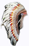 Y115 Medium Indian Double Feather white Headdress (36 inch long )