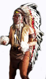 Z76 - Extra Large Indian white and red double Feather Headdress (43 inch long)