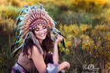 N55-Light Blue / Turquoise and dark Feather Headdress / Warbonnet